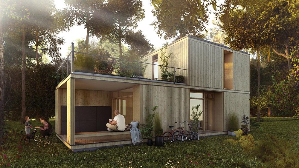 La casa diseñada por el estudio BaBO muestra una notable modularidad.
